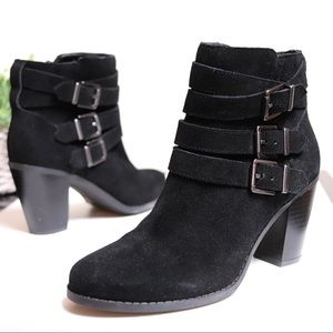 Beautiful Black Suede Leather Buckle Ankle Boots